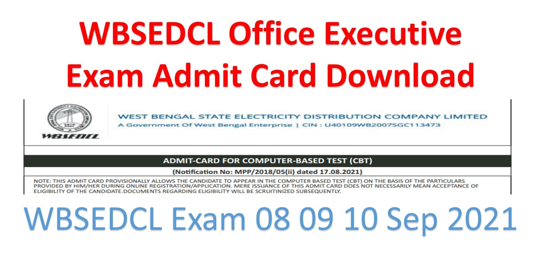 WBSEDCL Office Executive Admit Card Download